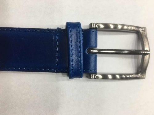 Cinturon Azul Cuero Hombre Vestir Sport Pantalon
