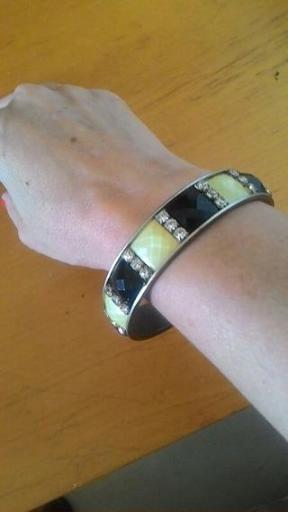 Bracelete Vintage Em Cobre Stras E Glass