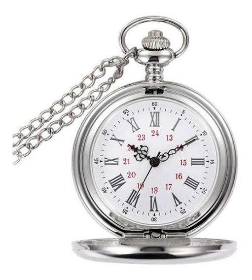 Relógio De Bolso Steampunk Prata Metal Liso Ccordão Corrente