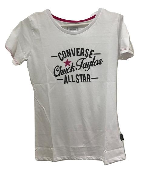 Remera Converse Mujer Remera M/c Chucks Neon Tee White - D54