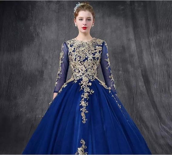 Hermoso Vestido Azul Rey Xv Años Envio Gratis Ml7010