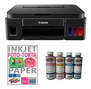 Kit Para Foto Torta Impresora Canon Papel De Azucar Y Tinta