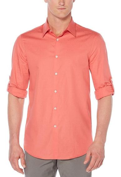 Camisa Perry Ellis Original Arremangada Enrollada Coral