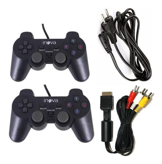Combo Ps2 2 Controles + Cabo Força+ Cabo Av Playstation 2