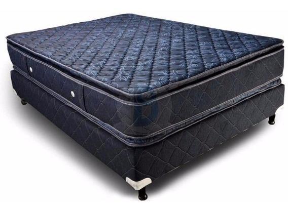 Colchón Y Sommier 2 Plazas 190x140 Doble Pillow Tela Jackard