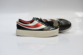 Tênis Casual Glamour Preto Vermelho E Branco Ref: 704419403