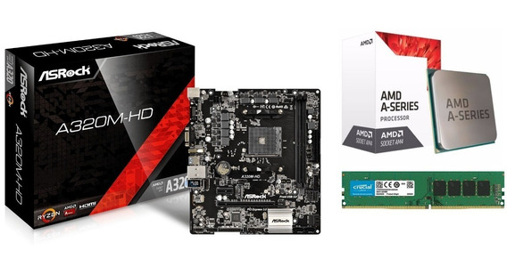 Kit Gamer Asrock A320m-hd Am4 + A8 9600 Apu + 4gb Ddr4 Amd