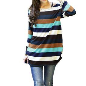 Coreano Moda Mujeres Slouchy T -camisa Colorido Rayas