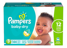 Pañales Pampers Baby Dry, Talla 3, 144 Pzs