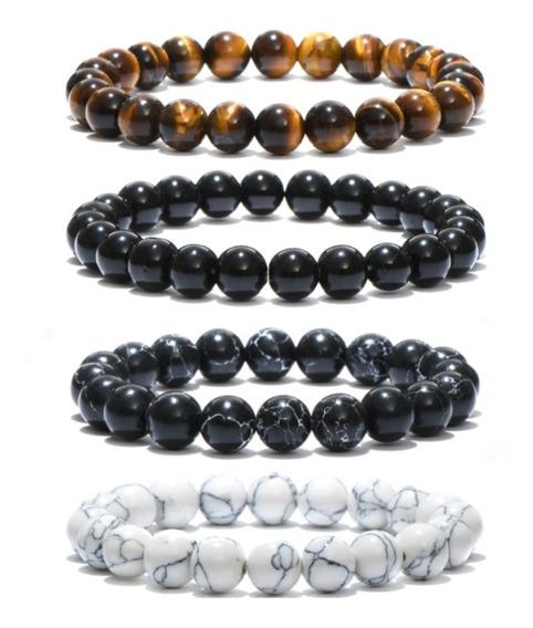 Combo 4 Pulseiras Masculinas Pedra Natural Onix Howlita Kit