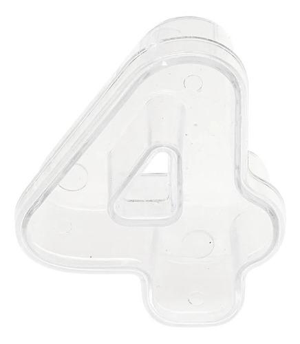 Imagem 1 de 1 de Número  Acrílico  Baleiro Cristal  - 4  - 01 Unidade - Pop F