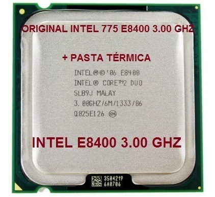 Processador Intel Core 2 Duo E8400 Lga 775 3.00ghz + Pasta