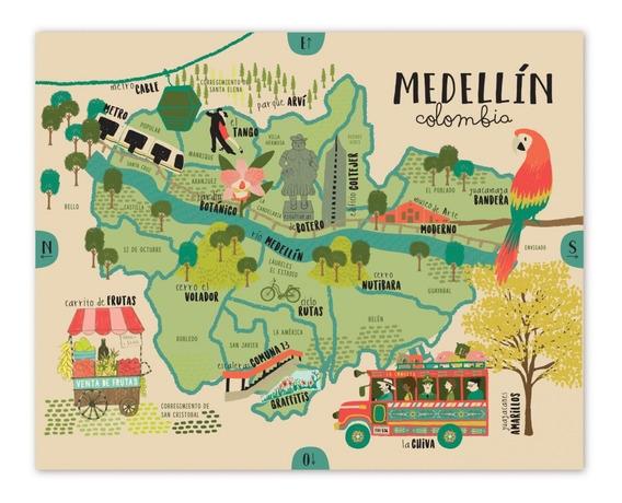 Póster Medellín Mapa