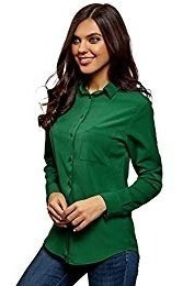 Camisa Vestir Mujer Verde Turquesa M.largas T. S Invierno