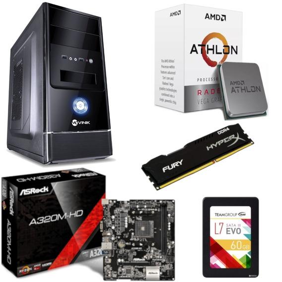 Pc Completo G1 One Athlon 200ge A320m Hd Hx 8gb Ssd 60gb