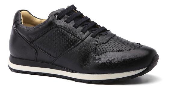 Sapatênis Masculino 4062 Em Couro Floater Preto Doctor Shoes