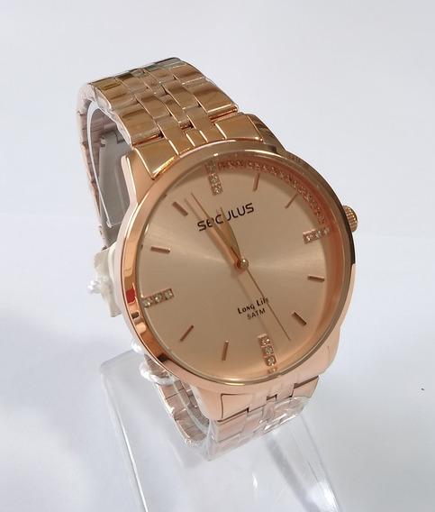 Relógio Dourado Rose Feminino Seculus Ref-28812lpsvra2.