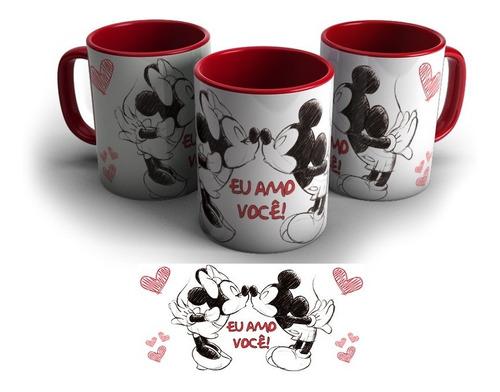 Imagem 1 de 1 de Caneca Vermelha Personalizada Mickey E Minnie