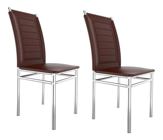 Conjunto 2 Cadeiras Tókio Art Panta Cromado/marrom Gh