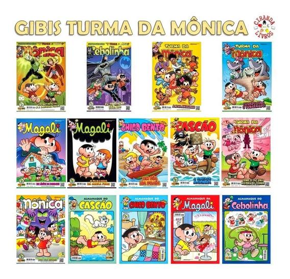 Kit Com 14 Gibi Revistinha E Almanaque - Turma Da Mônica