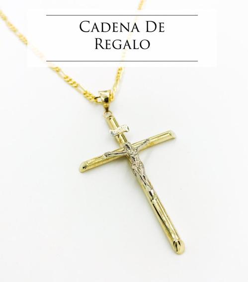 Cruz Cristo Oro 10k 1.5gr + Cadena De Regalo Msi