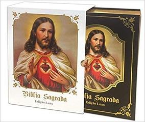 Bíblia Católica Sagrado Coração De Jesus Edição Luxo Preta