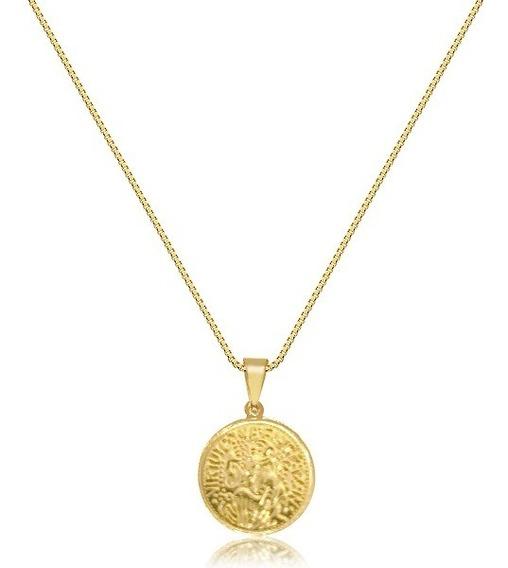 Colar Corrente Medalha São Bento Banhado A Ouro Amarelo