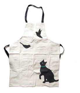 Delantal De Cocina Con Diseño De Gato Negro Repostería
