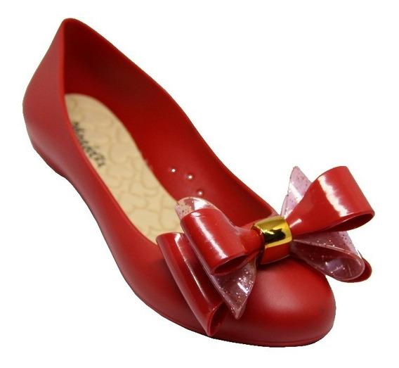 Sapatilha Feminina Vermelha Laço Com Glitter 31204