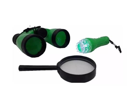 Kit D P A Detetive Explorador Binoculo,lupa E Lanterna