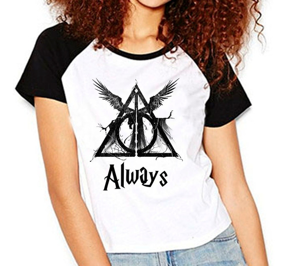 Camiseta Harry Potter Hp Reliquias Da Morte Raglan Babylook