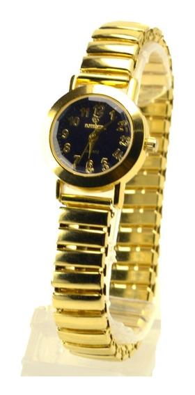 Relógio Feminino Dourado Pulseira Elástica Estilo Clássico !