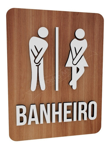 Imagem 1 de 3 de Placa Banheiro Unissex Boneco Hotel Shopping Lounge Bar