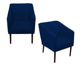 Jogo 02 Poltrona Cadeira Lis Decoração Sala De Espera Azul M
