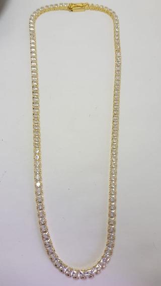 Gargantilha Riviera Banhada A Ouro Com Zirconias 5mm 40 Cm