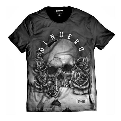 Imagem 1 de 2 de Camiseta Caveira Com Rosas Black And White Rapper