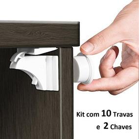 Tranca Magnética Invisível Kit 10 Gavetas Armários Crianças