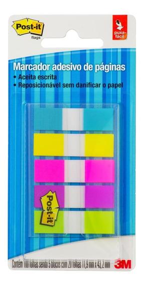 Marcador De Página Adesivo Post-it® Flag 5 Cores Neon