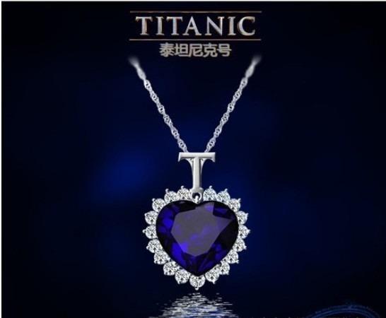 Colar Titanic Coração Do Oceano Cristais Azul