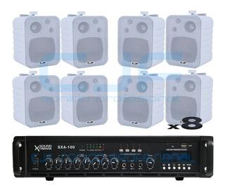 Sistema De Musica Funcional Usb Y Bluetooth + 8 Bafles Cjf