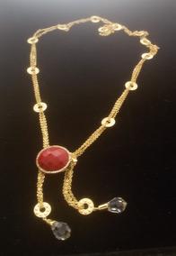 Colar Entrelaças Semi-joia Banhada Ouro 18k Pedras Naturais