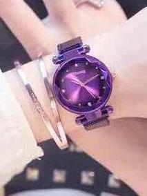 Relógio Roxo Feminino Ulzzang Pulseira Imã Magnético