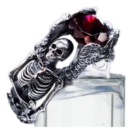 Anillo Compromiso Gotico Esqueletos Plata Y Granate Natural