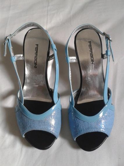 Zapatos Dama 36 Marca Ferradini Color Azul Celeste Con Plata