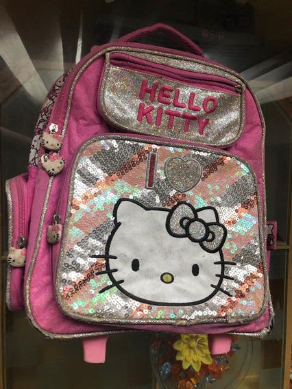 Mochila Escolar Carrito Footy Hello Kitty Con 2 Divisiones