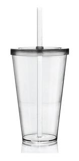 Copo Tampa E Canudo Krystalon Transparente Acrílico 550 Ml