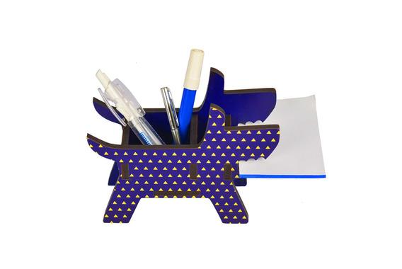 Porta Canetas E Lápis Decorativo Cachorro - Azul