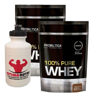 Kit 2x 100% Pure Whey - 825g Chocolate Probiotica Squeeze