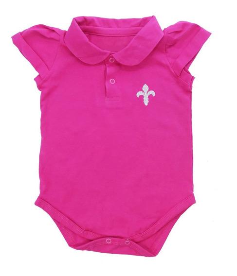 Body Polo Bebê 100% Algodão Menina Pink Super Promoção Full