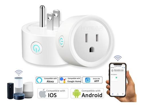 Imagen 1 de 10 de Hyiear Wifi Enchufe Inteligente Contactos, Con Alexa,google